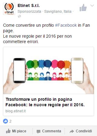 esempio sponsorizzata facebook dispositivi mobil