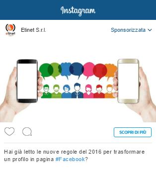 esempio sponsorizzata facebook instagram