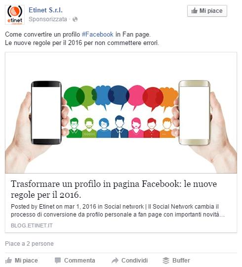 esempio sponsorizzata facebook newsfeed desktop