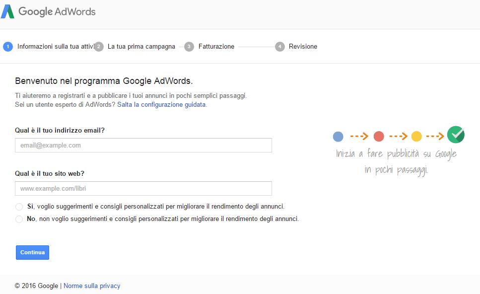 Primo accesso a Google Adwords