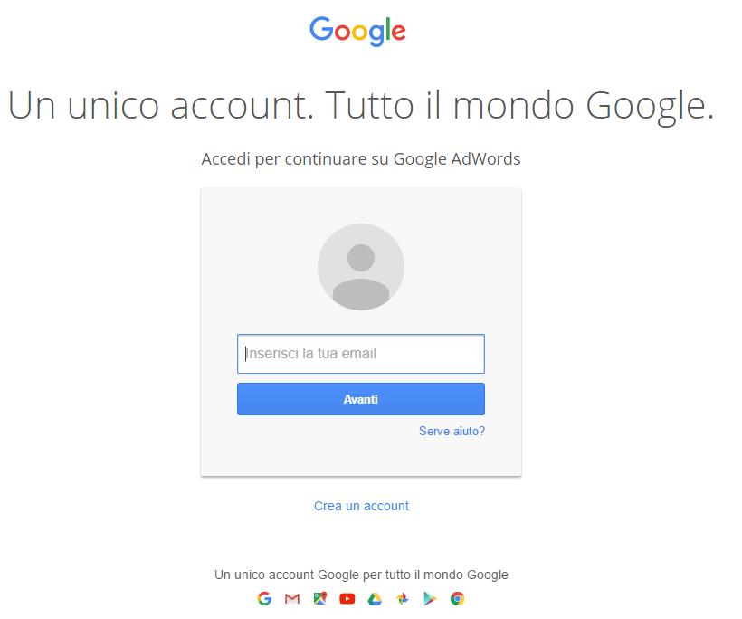 A volte Google potrebbe chiederci di inserire il nome utente e password