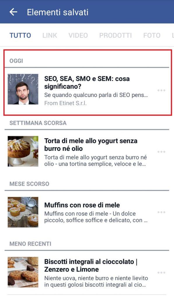 Salvare contenuti su Facebook da mobile