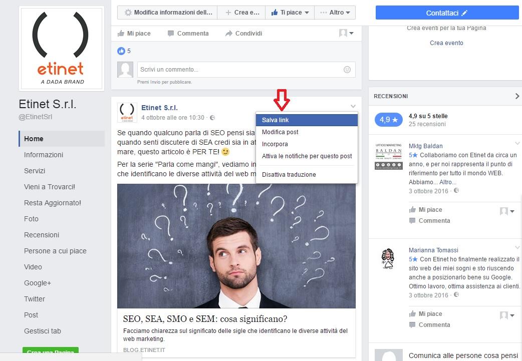 salvare contenuti su facebook