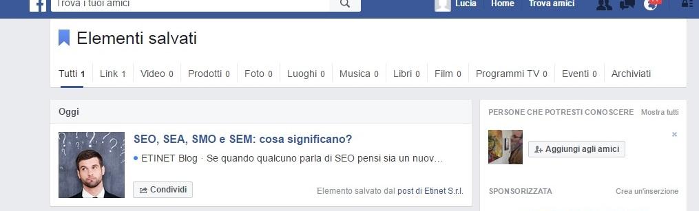 Salvare elementi su Facebook