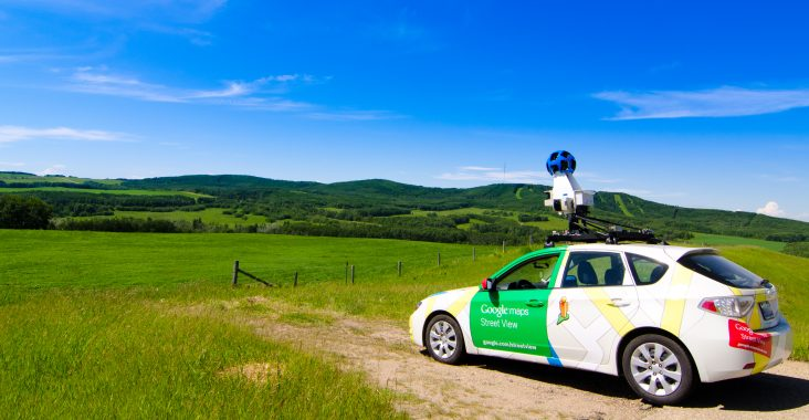 Red Deer, AB, Canada - June 27th, 2014: Google street view car making its rounds with the 2014 Google maps update.