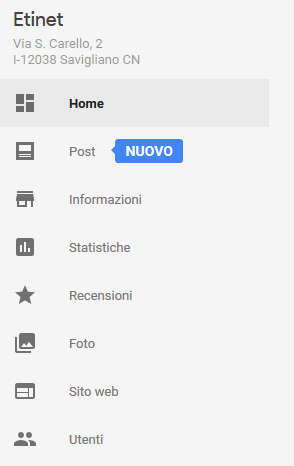 Scheda Google My Business - Come creare il post su Google My Business. Segui il Blog di Etinet