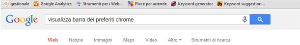Come mostrare barra preferiti Google Chrome